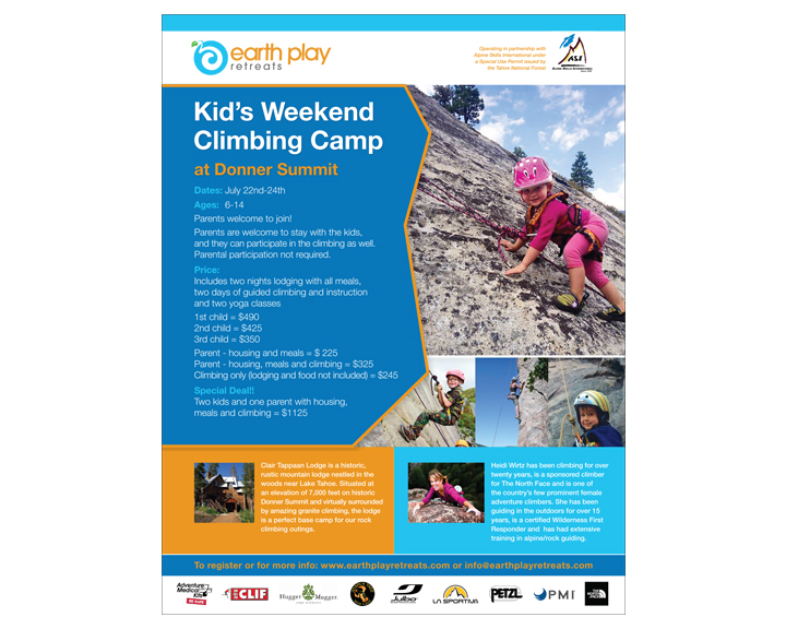 Climbing camp flyer